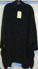 FAB! NWT $1575 ESKANDAR Tweed Wool Cash Knit Wide vLong poncho SWEATER Black Mix