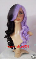 New wig Cosplay Lolita Purple & Black Mixed long Curly heat Wig