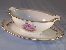 NORITAKE ROSEMONT GRAVY BOAT W ATTACHED PLATE 463388 Pink Rose