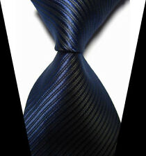 New Fashion Black&Blue Striped WOVEN JACQUARD Silk Men's Suits Tie Necktie
