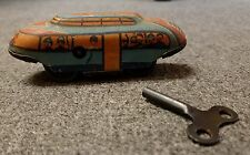 "1950-60's TECHNOFIX Wind up Tin Litho Monorail Train Space Ship 4"" Works"