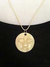 BRAND NEW Hand carved bone full moon face necklace!! Ivory