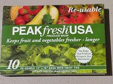 PEAK FRESH USA PRODUCE BAGS FRUITS AND VEGETABLES STAY FRESHER LONGER 10 BAGS