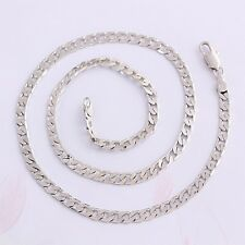 "Men Girls 9ct 9K White ""Gold Filled"" Curb Ring 24"" Necklace Chain. W=5mm, ""Gift"""