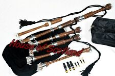 Scottish Great Highland Bagpipes Rosewood Silver Plain Mounts/Bagpipe Reed,Drone