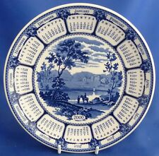 THE WEDGWOOD BLUE AND WHITE CALENDAR PLATE - BLUE LANDSCAPE