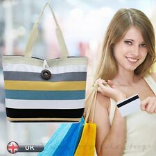 Casual Lady Colored stripes Shopping Handbag Shoulder Canvas Bag Tote Purse New