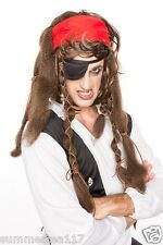 Halloween Caribbean Pirate Captain Jack Sparrow Black Long Wig Men/ Women H0126