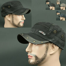 Cadet Box YNP BLACK Army Military CAP HAT Distressed Vintage Look Fashion Unisex