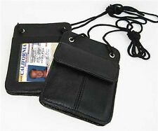 2pcs Genuine Leather ID CARD Pocket Holder Neck Pouch Badge Wallet Men Ladies