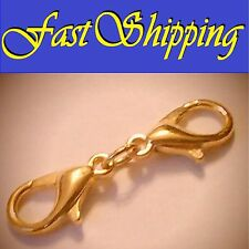 14KT GOLD PLATED DOUBLE LOBSTER CLAW EXTENDER OR REPLACEMENT CLASPS CHAIN
