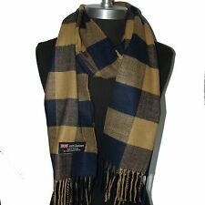 100% Cashmere Scarf Dark Blue/Came Check Plaid Wool Soft Men Women Wrap(#Ctg04)