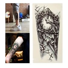 Gothic Clock Graphic Temporary Tattoo Body Art Stickers Removable Waterproof