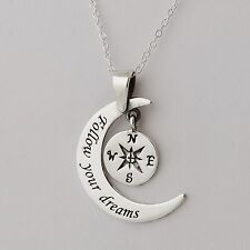 Compass Moon Necklace 925 Sterling Silver Graduation Nautical Follow Your Dreams