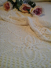 Antique French c1920 Textile ~ Hand/Needle Chochet Lace Tablecloth ~Bed coverlet