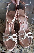 "Coach ""Georgiana"" Brown & Beige Leather Strappy Wedge Sandals Women's Size 7B"