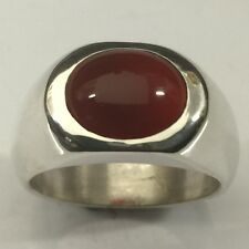 MJG STERLING SILVER MEN'S RING. 12 X 10mm OVAL CARNELIAN CAB. SIZE 10