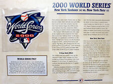 2000 WORLD SERIES PATCH CARD ~ Willabee & Ward NEW YORK YANKEES vs NEW YORK METS