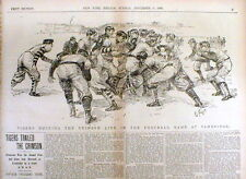 1896 newspaper w Poster display PRINCETON defeats HARVARD College FOOTBALL GAME