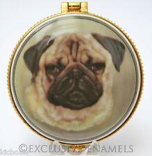 Alastor Enamels Pug Dog Round Hinged China Trinket Box