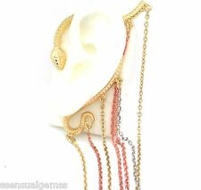 New Snake Ear Cuff Gold HOOKS Over Ear Tri Color No Piercing Needed
