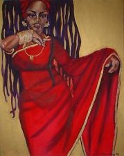 """Print by Artist Beth Ritter-Perry  """" Red Sari""""  Off Set Lithograph  24X36"""