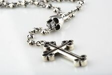 STERLING SILVER KING BABY STUDIO ROSARY WITH CROSS & SKULL BEADS