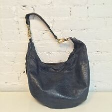 Jas MB Leather Bag Hobo Shoulder Croc Embossed Blue