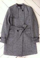 NWT BANANA REPUBLIC Black White Wool Blend Tweed Belted Coat Womens Small 4 6