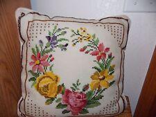 Pink Rose Cross Stitch Pillow Handmade Wool Blend