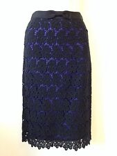 BNWT HOBBS COTTON LACE PENCIL SKIRT BLACK & PURPLE UK 8