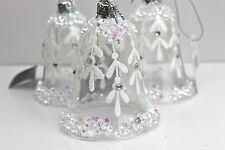 GISELA GRAHAM CHRISTMAS CLEAR GLASS BELL WITH IRID GLITTER MISTLETOE X 3