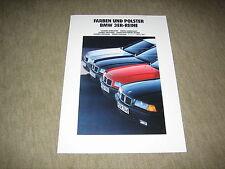 BMW 3er Farben und Polster E36 Prospekt Brochure von 2/1990