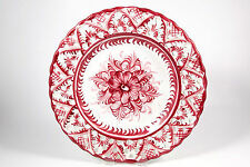 "VTG Alcobaca Pottery Portugal Ceramic Display Plate Floral Reticulated 11"" Red"