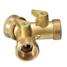 Brass Garden Two Way Tap Connector Adaptor Hosepipe Splitter Irrigation 3/4""