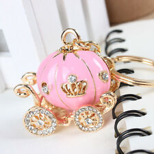 Carriage Pink Pumpkin Rhinestone Creative Pendant Charm Purse Bag Key Chain Gift