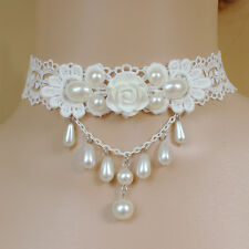 Fashion White Rose Lace Pearls Choker Womens Chain Necklace Costume Jewelry Gift