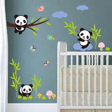 3D Baby Panda Nursery Animal Tree Wall Art Stickers Butterfly Bedroom Decals New