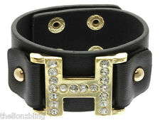 Urban Fashion Black Leather Bracelet with Gold H Pendant & Crystal Bling