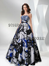 SHOW STOPPER! STRAPLESS BLACK FLORAL PRINTS BEADED FORMAL/EVENING/PROM/BALL GOWN