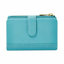 FOSSIL ERIN TAB TURQUOISE BLUE,LEATHER TOP ZIP BI-FOLD WALLET,CLUTCH,COIN PURSE