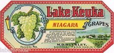 CRATE LABEL VINTAGE ORIGINAL GRAPE ANTIQUE C1900 NEW YORK PENN YAN LAKE KEUKA #2