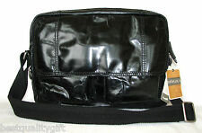 NEW-FOSSIL GRANT BLACK LEATHER COMPUTER/LAPTOP MESSENGER+CROSSBODY MENS E/W BAG