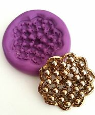 FANCY BROOCH 40 mm Mould Cake Decorate Cupcake Topper Sugarpaste Icing Fimo