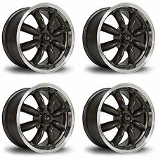 4x Rota RB Gunmetal / Polished Lip Alloy Wheels 15x7"