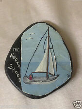 HORGAN NORTH SHORE HAND PAINTED STONE OR ROCK WITH SAIL BOAT & MAN MINNESOTA MN