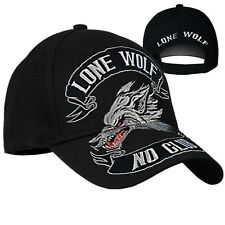Lone Wolf Hat / Black No Club Motorcycle Baseball Cap