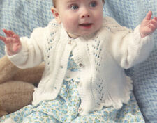 "Baby Cardigan /Tunic Lace Panel & Ruffle Hem Raglan DK 16 - 24"" Knitting Pattern"