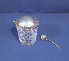 Hawkes Sterling Silver + Cut Glass Diamond Pattern Condiment Jar with Swivel Top