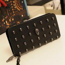Hot Ladies Skull Smile 3D Studded Leather Goth Purse Wallet Bag Clutch Handbag T
